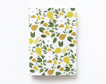 Medium Illustrated Journal   Hand Illustrated Floral Journal with Pear Motif, Lined Notebook Stationery : Pear Collection
