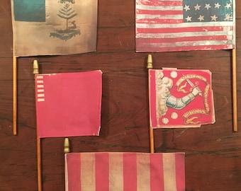 "Surviving Flag Series #2 of The American Revolution Era - Massachusetts : Unique Mini Desk Flag 4""x 6""  9.99 Each Flag"