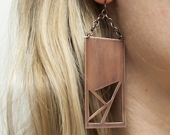 Copper Geometric Earrings