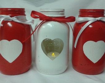 3 Valentine's Day hand painted quart size Mason jars Rustic hearts vases/candle holder/candy jars. Farmhouse decor. Decorative canning jars.