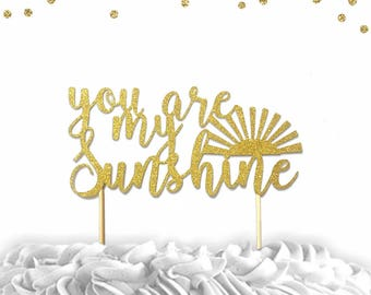 1 pc you are my sunshine script Gold Glitter Cake Topper for Birthday Baby Shower boy girl