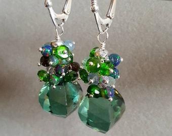 25% Off Sale Green Amethyst Prasiolite Black Ehiopian Opal Chrome Diopside Gemstone Cluster Sterling Silver Earrings Gift for Her