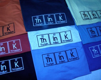 ThInK Hooded Sweatshirt Embroidered - Periodic Table ThInK Science Chemistry Geek Nerd or Scientist - Made to Order
