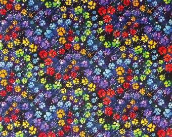 Multi Paw Prints Galaxy Cotton Fabric Sold by the yard
