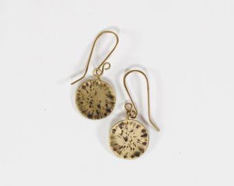 Earrings darkened hammered brass small