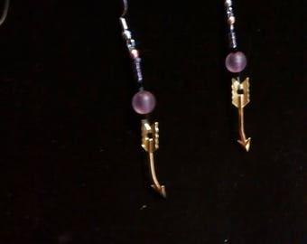 purple arrow earrings