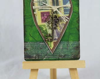 ACEO ATC, artist trading card, romantic gift, anniversary gift, gift for him, birthday gift, mixed media art, key to my heart