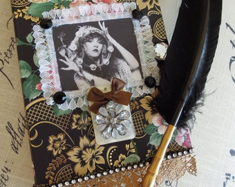 GYPSY JOURNAL , Stevie Nicks, Diary, Poem, Gratitude , Dream Journal, Notebook,Photo Journal of your favorite Muse,  Flowered, Embellished,