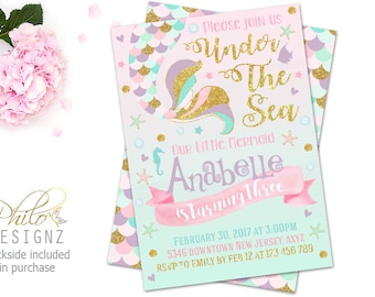 Mermaid Birthday Invitation, Mermaid Invitation, Under The Sea Birthday Invitation, Under The Sea Party, Mermaid Tail Invite