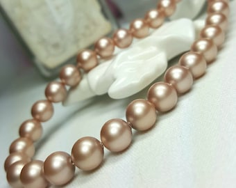 Champagne Pearl Necklace, Swarovski Pearl, Single Strand Necklace, Gifts for Sister Mom Wife Birthday Anniversary, Metallic Classic Necklace