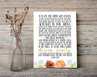 Printable Art, Inspirational Quote Print, The Man in the Arena, Theodore Roosevelt Quote, Gold and Watercolor Florals, Motivational Quote