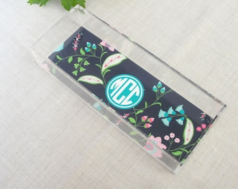 Floral Paisley | Monogram Lucite Tray | Paisley Pattern | Acrylic Desktop Organizer | Skinny Tray