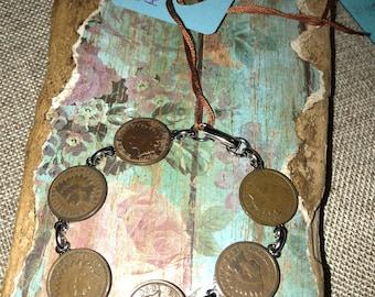 Indian head vintage coin bracelet