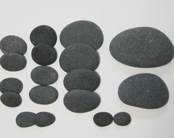 Natural Basalt Massage Healing Spa Home Trerapy Small to Large Stones - 18 piece round to semi-round set
