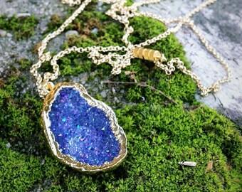 Magical Druzy Agate Necklace Purple Blue