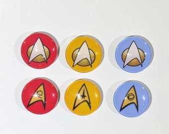 "1.5"" Star Trek Badge Magnets - Original Series and Next Generation"