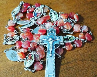 Handmade Catholic Stations of the Cross Chaplet with Tools of the Passion Irish Penal Crucifix