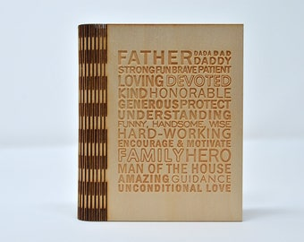 Laser Cut and Engraved Notebook - Father phrase - NBC-004