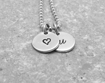 Initial Necklace, Small Heart Necklace, Sterling SIlver Jewelry, Initial Jewelry, Charm Necklace, Letter u Necklace, u, Hearts, All Letters