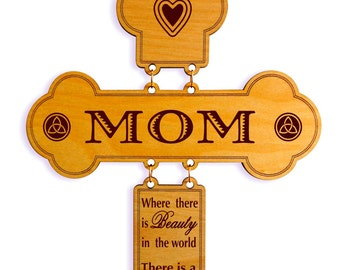 Gifts for Mom - Mom Decorative Wall Cross Gift - Personalized Mothers Day Gift from Daughter - Son