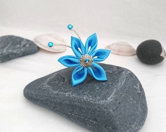 Turquoise satin flower hair pins