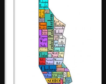 new york city map manhattan multi color neighborhood map new york print poster