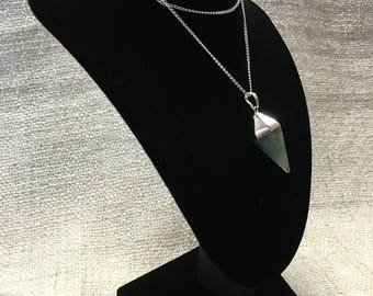 Silvered Adventurine Reiki Healing Crystal Pendulum Necklace