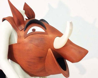 Pumba Pumbaa. Lion King costume mask head. Child + Adult sizes HEAD ONLY. Ready to Ship. Warthog theatre mask. Hand made Tentacle Studio.