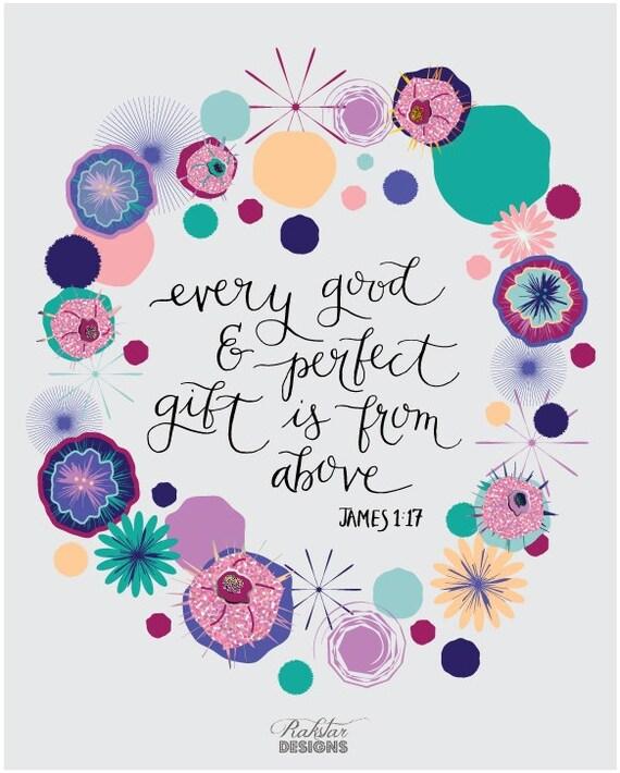 "PRINTABLE * Colorful Whimsical ""Every Good Gift"" Christian Inspirational Scripture Modern Calligraphy Art Print 8x10"