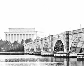 "Washington DC, Art, Black and White Photography, DC Wall Decor, Lincoln Memorial, Washington DC Print, Potomac River - ""Memorial Bridge"""