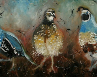 Print of oil painting Quail 9 by Roz