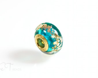Sea blue bracelet bead - european charm Murano glass bead - Gold charm bead - sterling silver large hole charm, unique gift for women