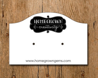 Personalized Earring Display Cards - Horizonal With Your Logo - Custom Jewelry Tags