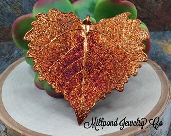 Cottonwood Leaf Pendant, Copper Dipped Cottonwood Leaf Pendant, Copper Cottonwood Leaf, Leaf Pendant, Nature Pendant, LARGE