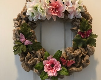 Butterfly Floral Burlap Wreath