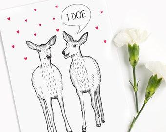 Funny Wedding Card | I do | Deer Pun |