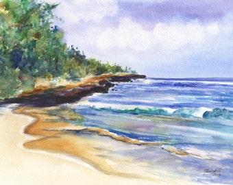 Kauai Beach Art - Mahaulepu Beach - 5x7 Giclee Print - Hawaiian art - Seascape - Hawaii Painting - home decor - wall art - Kauai Fine Art