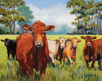 Cowgirls- Large Print, farm, cows, fence