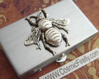Silver Bee Pill Box Small Size Silver Tone Metal Pill Case Gothic Victorian Steampunk Accessories