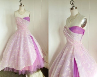 RESERVED 1950s Vintage Lavender Tulle and Chiffon Prom Dress
