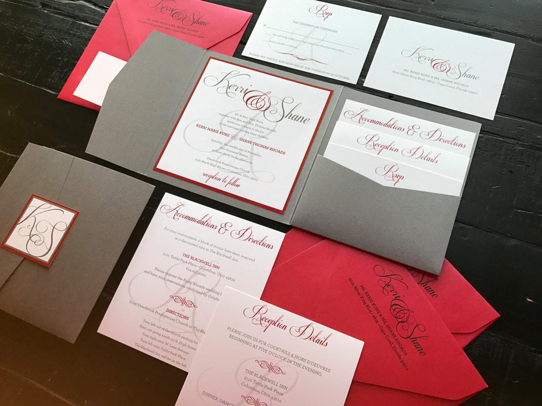 Custom Pocket Wedding Invitation Suite Metallic Silver & Red