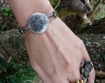 SALE:  Antique Niello Bracelet, Tribal Victorian Beauty, offered by RusticGypsyCreations