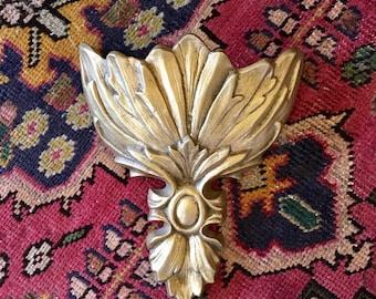 Vintage Florentine Italian Gilded Gold Metal Wall Pocket Sconce Planter