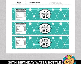 30th Birthday Water Bottle Labels. 30th Birthday - Dirty or Flirty 30th Birthday Party Decor. *INSTANT DOWNLOAD*