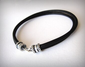 Leather Bracelet, Sterling Silver Black Leather, Womens or Mens leather bracelet, Ready to ship jewelry, Valentines gift, gift for woman