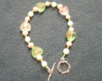 Valentine Pink and Green Heart Beaded Bracelet with Moonstone and Pearls