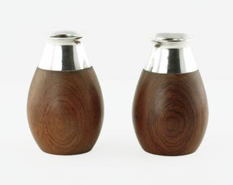 Vintage Sterling Silver and Teak Vases Set of Two