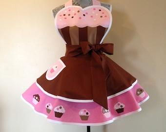 Cupcake Apron - Retro Apron - Cafe Apron - Womens Apron