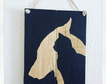 Dog and cat wood wall frame