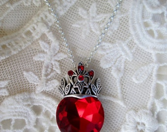 Special Sale, Ruby Heart, Gift Giving Ready, Ruby Red Crystal Heart Pendant,Timeless,Inspired Romantic,Downton,Victorian,Edwardian,Victorian